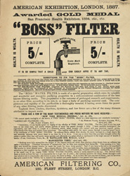 Advert for the Boss Water Filter
